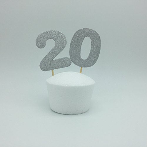 Double-Sided-Silver-20th-Birthday-Party-Ideas-Number-20-Cupcake-Toppers-Set-of-12