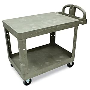 Rubbermaid Commercial Flat Shelf Utility Cart, 2-Shelf, 25-7/8w x 43-7/8d x 33-1/3h, Beige - Includes one each. by Rubbermaid Commercial