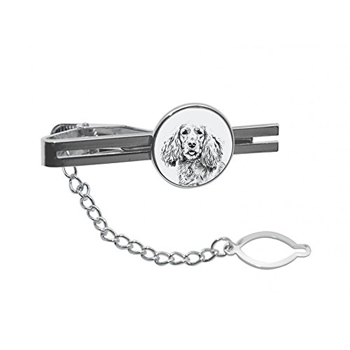 English Cocker Spaniel, tie pin, clip with an image of a dog, elegant and casual style