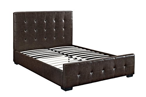 DHP 5573298 Complete with Headboard/Footboard/Slats Florence Upholstered Bed, Queen, - Complete Leather Queen Bed