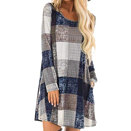 Sinfu Women's Vintage Plaid Print Crew Neck Long Sleeve Loose Casual Shirt Dress with Pockets (L) ()