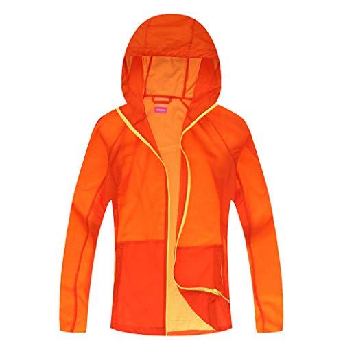 Foldable Sun Protection Clothing Outdoor Travel Sunscreen Men Women Zipper Jersey Hooded Coat Riding Windbreaker Orange