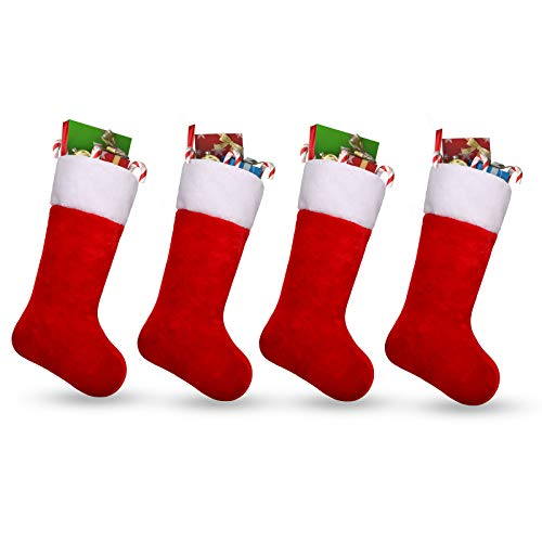 Ivenf Christmas Stockings, 4 Pack 19 Inch Classic Red & White Plush Mercerized Velvet Stockings, for Family Holiday Xmas Party Decorations (Stocking Plush Christmas Red)