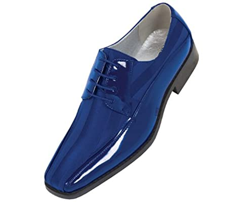 Viotti Mens Bright Royal Blue Dress Oxford with Striped Satin and Patent Trim : Style 179 Royal Blue-052 12 D (M) US