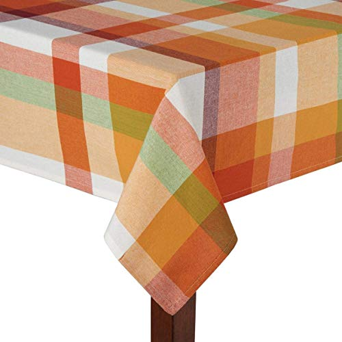 - Autumn Harvest Modern Fall Plaid Orange and Red Thanksgiving Jacquard Cotton Fabric Tablecloth (60