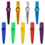BBTO 4 Pack Metal and 5 Pack Plastic Kazoo Musical Instruments Companion for Guitar Ukulele Good Gift for Kids Music Lovers, Different Colors