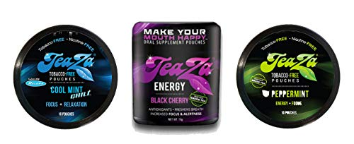 Smokeless Tobacco Alternative Helps You Quit Chewing Tobacco Snuff - Nicotine Free Tobacco Free Dip Non Tobacco Chew To Help Quit Dipping - Variety Pack of Peppermint, Black Cherry, and Cool Mint