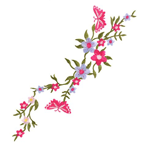 Zadaro Butterfly Flowers floral bouquet boho Iron-On Embroidered Patches Applique Motif Garment Sewing Craft Decor (3#) (Tacking Iii Iron)