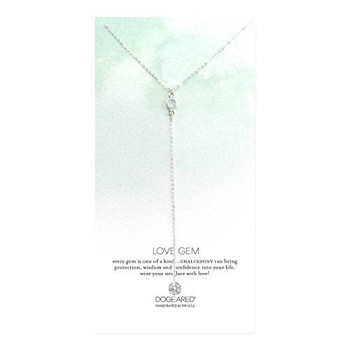 - Dogeared Love Gem, Round Green Chalcedony Bezel Gold Y-Shaped Necklace, 16