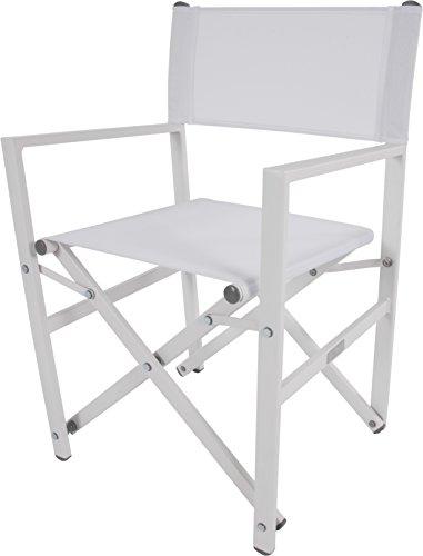 Vivere STUC-WH Directors Aluminum Folding Chair, White