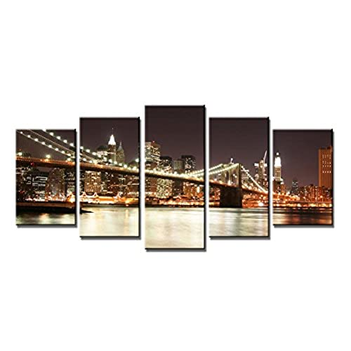 Exceptionnel ... Bridge Modern 5 Panels Gallery Wrapped Seascape Giclee Canvas Prints  Landscape Pictures Photo Paintings On Canvas Wall Art For Living Room Home  Decor XL