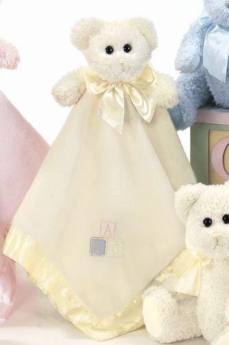 Bearington Baby Bear Hugs Yellow Snuggler, Teddy Bear Plush Security Blanket, Lovey (Infant Yellow Teddy Bear)