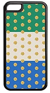 Colorblocked Stripes and Glitter PRINT Polka Dots (Green, Slate, Blue) - Case for the APPLE iphone 5c -Hard Black Plastic Outer Case with Tough Black Rubber Lining