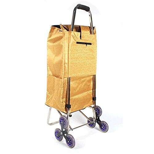 Portable folding shopping cart, big wheel ladder to buy food, upstairs, scooter, luggage cart, trolley (Color : Gold)