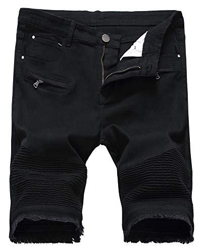 Denim Biker - Men's Moto Biker Jeans Shorts Cool Stylish Wrinkle Performance Slim Ripped Denim Shorts, 3305-Black, US 42 /Tag 42