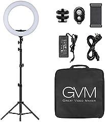 GVM Luce ad Anello LED con Stativo Treppiede, 18 Pollice 55W Dimmerabile Selfie Ring Light, anello di luce con...