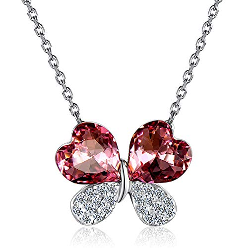 - RHHY-FIROD 925 Sterling Silver Clover Ladies Necklace, Hand-Set in Deep Pink Zircon Craft, Tail Extension Chain Design Adjustable Length