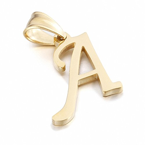 Kalapure 14K Gold Plated Stainless Steel Initial Pendant for Birthday Gifts - 26 Letters Alphabet Personalized Charms Pendant (A) ()