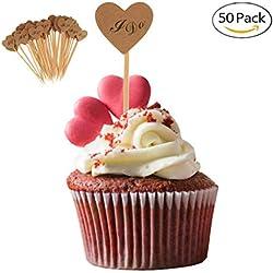 Elegantday Rustic Vintage Kraft Paper Heart Cupcake Picks Cake Toppers Food Flags Canape Sticks Wedding Bridal Shower Party DIY Dessert Decoration 50PCS (I do)