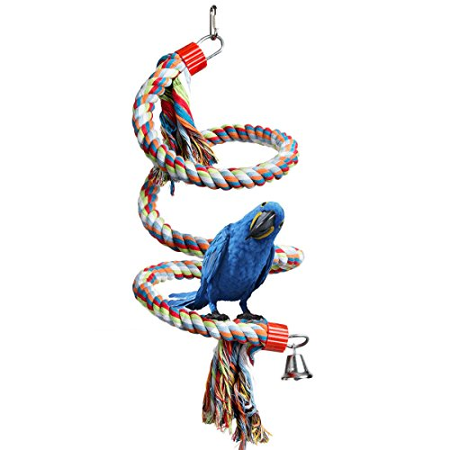 VeMee Bird Rope Bungee Toys,Parrot Toys Medium or Large-Sized Bird Rope Perches Colorful Bird Cage Parrot Chewing Toys 72'' Long - Suppliers Wire Rope