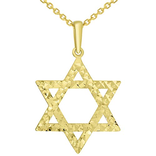 (Solid 14k Yellow Gold Textured Hebrew Star of David Pendant Necklace, 20
