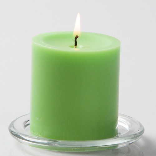 Richland 3'' X 3'' Hand Poured Green Pillar Candle Set of 24