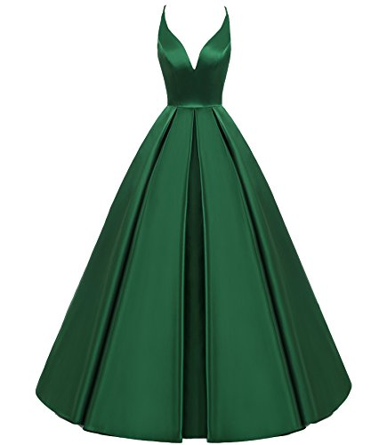 Lemai Backless Deep V Neck Simple Long A Line Prom Gowns Evening Dresses Emerald Green US 6 ()
