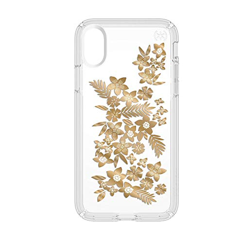 Speck iPhone X Presidio Clear + Print Case, IMPACTIUM 8-Foot Drop Protected iPhone Case that Resists UV Yellowing, Shimmer Floral