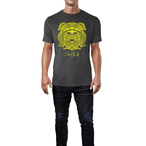 SINUS ART ® Kopf einer Bolldoge im Ethno Stil Herren T-Shirts in Smoke Fun Shirt mit tollen Aufdruck