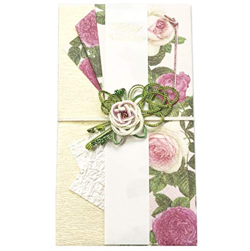 (Frontia Shugi Bukuro Japanese Traditional Money Gift Envelope Wedding Washi Mizuhiki Handmade (Pink Rose/Rhinestone&Glitter))