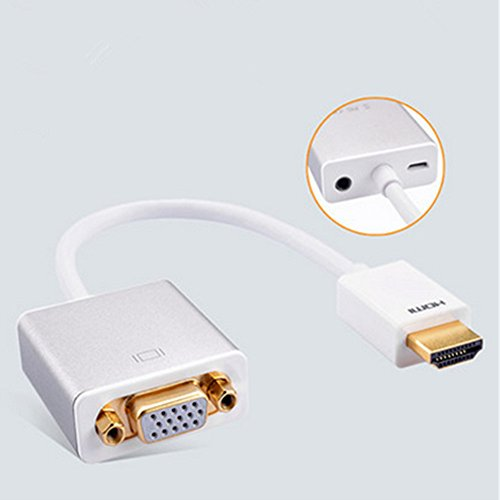Price comparison product image Spritech(TM) Aluminum Alloy HDMI to VGA Converter with 3.5mm Audio and Power Line Compatible with Apple TV PC Laptop Chromebook Macbook Other Devices with HDMI Interface