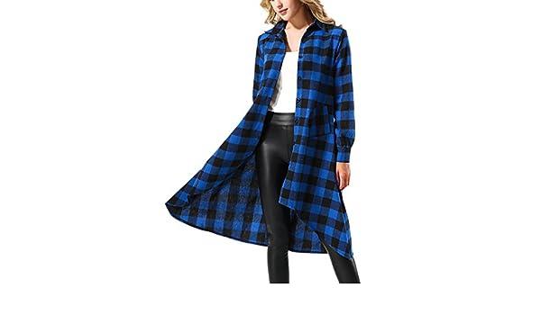 202a37162d Yidarton Women Casual Long Sleeve High Low Plaid Dresses Tunic Tops Shirt  Dress Blue XL  Amazon.ca  Clothing   Accessories