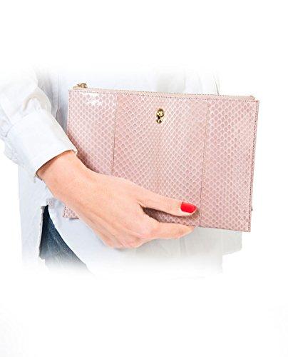 Raquel Giménez Pink Snake Skinpouch, Borsa a mano donna rosa Rosa