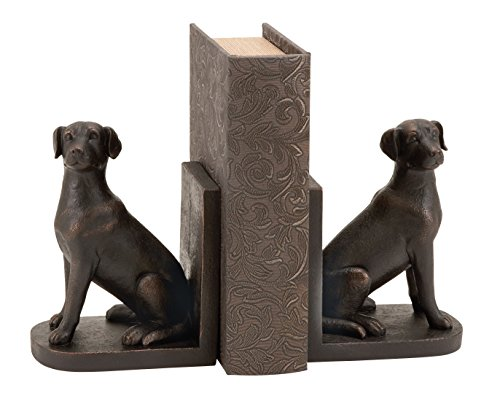 Deco 79 Pair of Traditional Polystone Sitting Labrador Bookends, 8