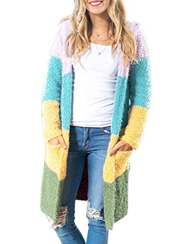 MEROKEETY Women's Long Sleeve Colorblock Open Front Hoodie Knit Sweater Chunky Cardigan with Pockets (Best Jeans For No Booty)