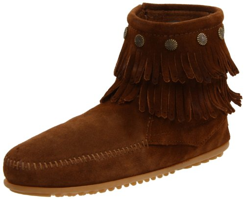 Minnetonka Women's Double Fringe Side Zip Boot,Dusty,10 M US - Hi Fringe Boot
