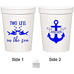 Two Less Fish in the Sea, White Stadium Plastic Cups - Wedding or Wedding Shower (10 cups)
