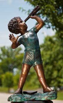 Stargazer Boy Solid Bronze Garden Statue Sculpture - Solid Bronze Garden Sculpture
