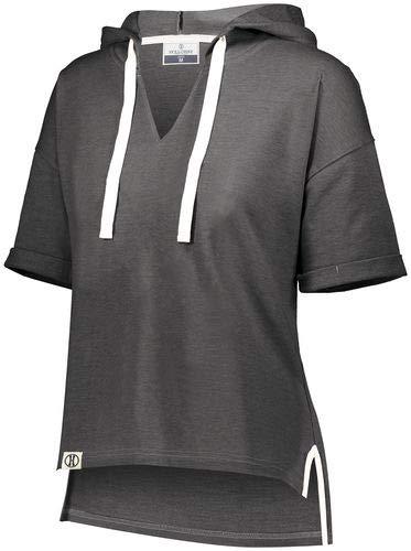 Holloway Sportswear Ladies Sophomore Short Sleeve Hoodie XS Black Heather