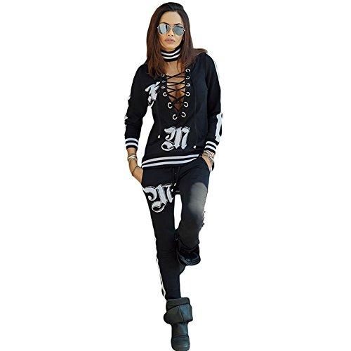 BYY Black Lace Up V Neck Glittering Studded 2pcs Sweatsuit(Size,S) by BYY