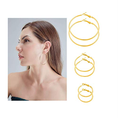 Hoop Earrings -18K Gold Plated Plated Silver Rounded Rose Gold,Copper material Hypoallergenic Hoops Earrings for Women Girls