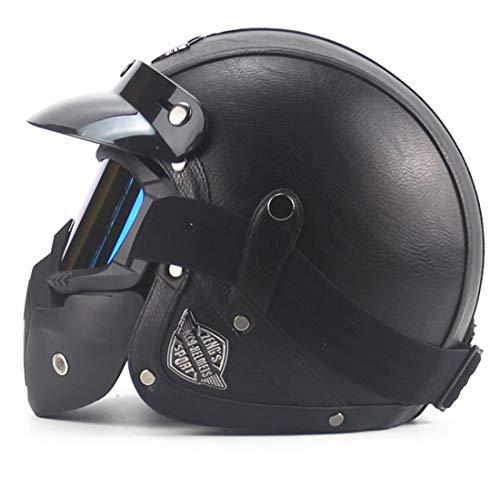 Full Face Leather - Meyane Motorcycle Helmet Motorcross Full Face Vintage Helmet for Scooter Leather Crash Helmet Windproof Open face Harley Helmets 4 Colors Optional (M:57-58cm)