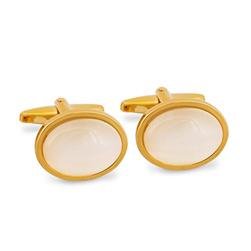 (Marzthomson Oval White Fibre Optic Glass Cufflinks in Gold)