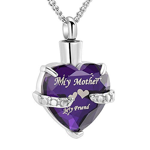 Cremation Jewelry Heart Cremation Urn Necklace for Ashes Keepsake Memorial Pendant-Engraved My Mother My Friend Birthstone Heart Urn(Silver and Purple 1) (Stone Keepsake)