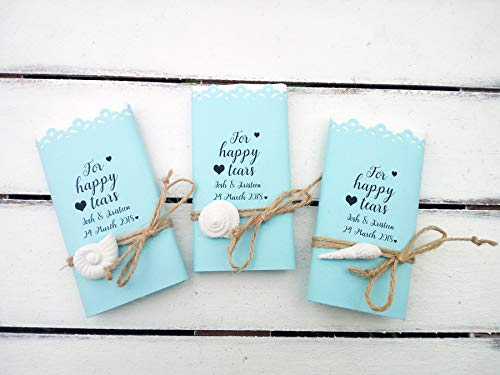 Wedding on the beach handkerchief, Personalized marriage wedding favor, Hankerchief, 30 pieces, Sea wedding favor, Happy tears tissue pack, Blue custom tears of joy -