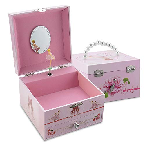 (TAOPU Sweet Square Musical Jewelry Box with Pearl Handle with Pullout Drawer and Dancing Ballerina Girl Figurines Jewel Storage Case for Girls )