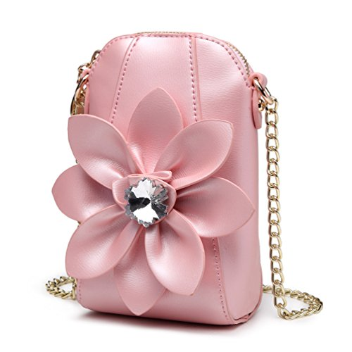 Wallet 3D bag Satchel With Leather Crossbody Flower for Small Womens Pink Purse Pu Girl's SUNROLAN EIaznqtww