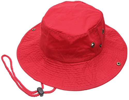 - Summer Outdoor Boonie Hunting Fishing Safari Bucket Sun Hat with Adjustable Strap (Red,LXL)