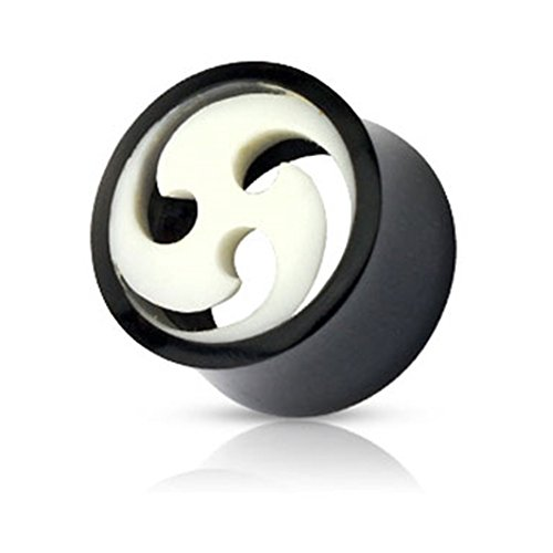 Bone Inlay Body Jewelry Tunnels - MsPiercing Pair Of Organic Buffalo Horn Tunnels With Swirled Bone Inlay, Gauge: 00 (10Mm)