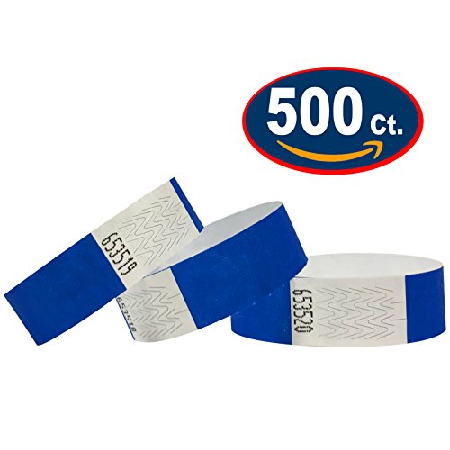 Tyvek Wristbands - 500 Pack - Neon Blue - 3/4